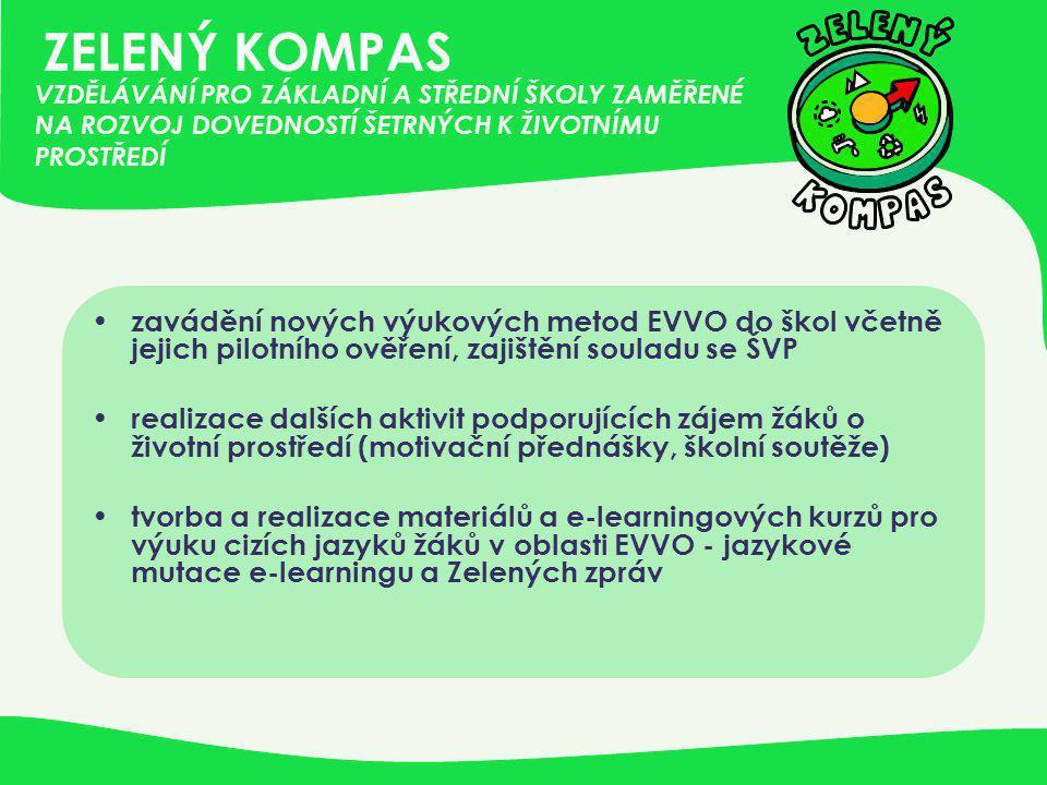 ZELENÝ KOMPAS • zavádění nových výukových metod EVVO do škol včetně jejich pilotního ověření, zajištění souladu se ŠVP • realizace dalších aktivit pod