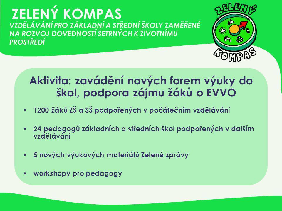 ZELENÝ KOMPAS Aktivita: zavádění nových forem výuky do škol, podpora zájmu žáků o EVVO • 1200 žáků ZŠ a SŠ podpořených v počátečním vzdělávání • 24 pe