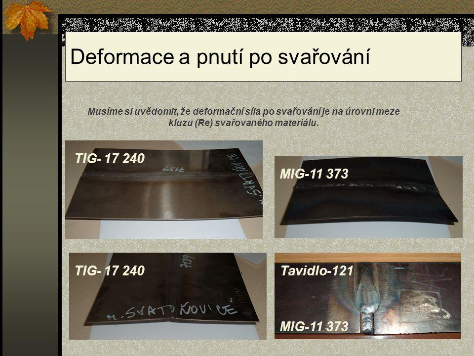 Deformace a pnutí po svařování TIG- 17 240 MIG-11 373 TIG- 17 240 MIG-11 373 Tavidlo-121 Musíme si uvědomit, že deformační síla po svařování je na úro