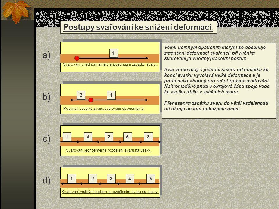 1 12 14253 12345 Postupy svařování ke snížení deformací. Svařování v jednom směru s posunutím začátku svaru: Posunutí začátku svaru,svařování obousměr