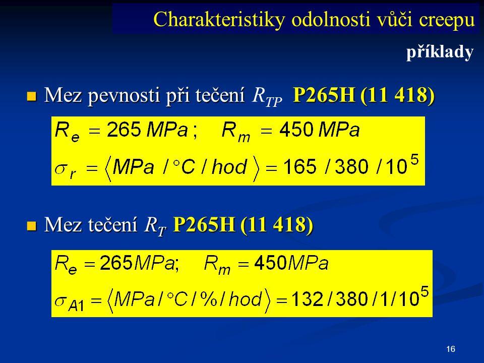 16  Mez pevnosti při tečení P265H (11 418)  Mez pevnosti při tečení R TP P265H (11 418) Charakteristiky odolnosti vůči creepu  Mez tečení R T P265H