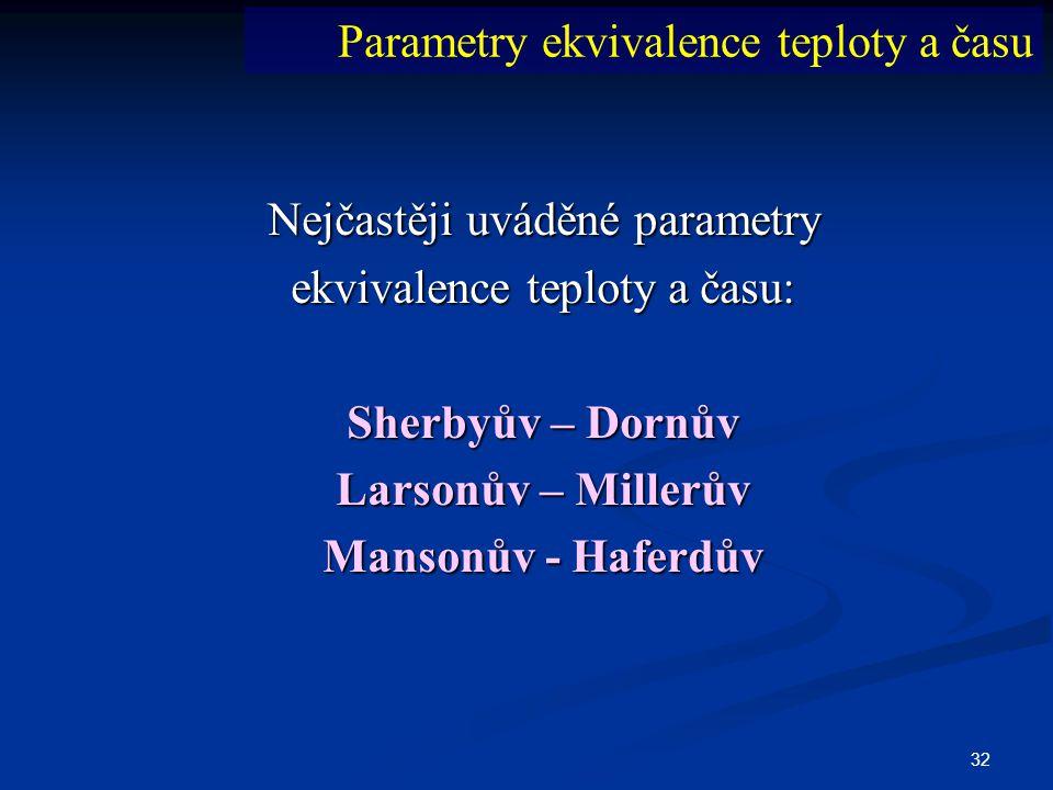 32 Nejčastěji uváděné parametry ekvivalence teploty a času: Sherbyův – Dornův Larsonův – Millerův Mansonův - Haferdův Parametry ekvivalence teploty a