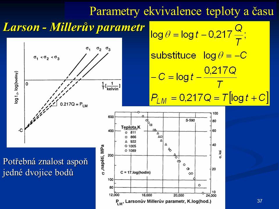 37 Larson - Millerův parametr Parametry ekvivalence teploty a času Potřebná znalost aspoň jedné dvojice bodů