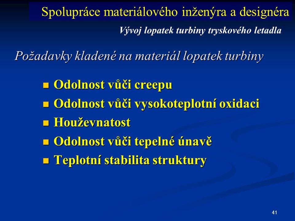 41 Požadavky kladené na materiál lopatek turbiny  Odolnost vůči creepu  Odolnost vůči vysokoteplotní oxidaci  Houževnatost  Odolnost vůči tepelné