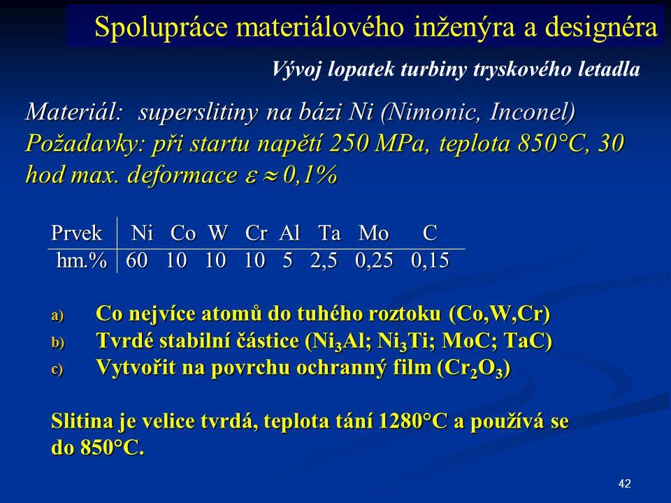 42 Materiál: superslitiny na bázi Ni (Nimonic, Inconel) Požadavky: při startu napětí 250 MPa, teplota 850°C, 30 hod max. deformace   0,1% Prvek Ni C