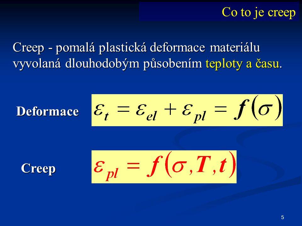 5 Creep - pomalá plastická deformace materiálu vyvolaná dlouhodobým působením teploty a času. Deformace Creep Co to je creep