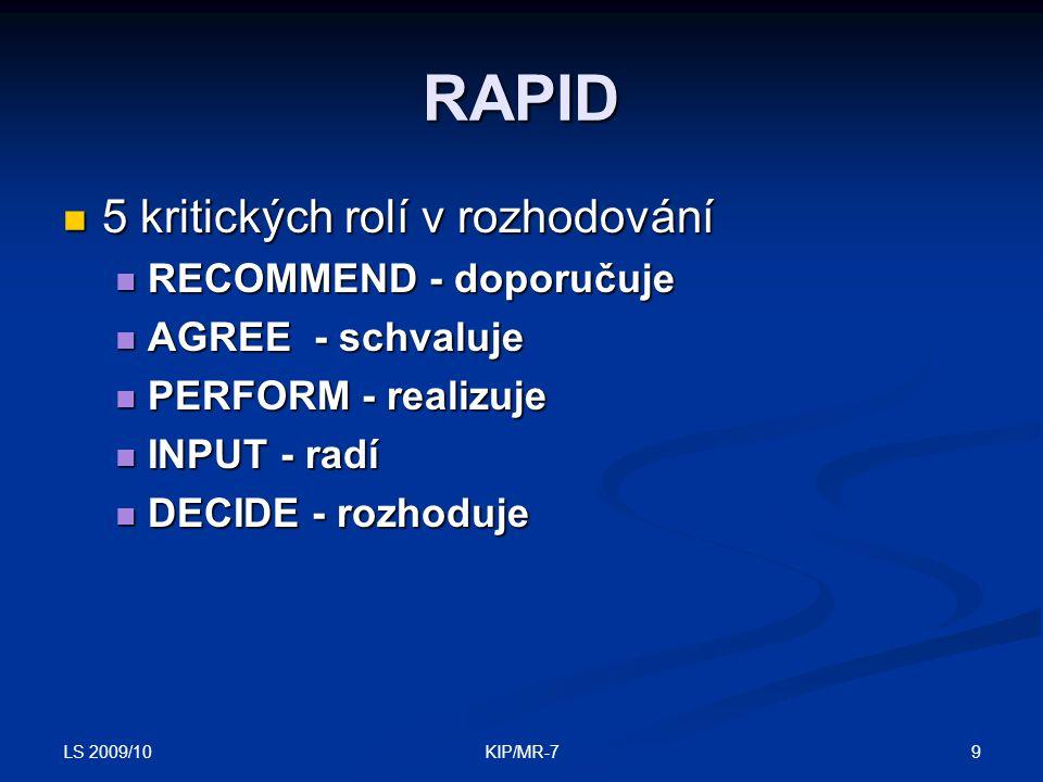 LS 2009/10 9KIP/MR-7 RAPID  5 kritických rolí v rozhodování  RECOMMEND - doporučuje  AGREE - schvaluje  PERFORM - realizuje  INPUT - radí  DECIDE - rozhoduje