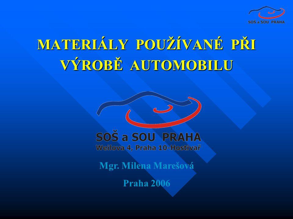 MATERIÁLY POUŽÍVANÉ PŘI VÝROBĚ AUTOMOBILU Mgr. Milena Marešová Praha 2006