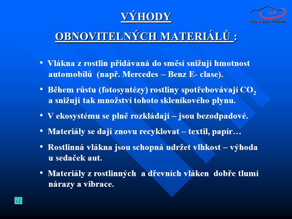 • Vlákna z rostlin přidávaná do směsí snižují hmotnost automobilů (např. Mercedes – Benz E- clase). • Během růstu (fotosyntézy) rostliny spotřebovávaj