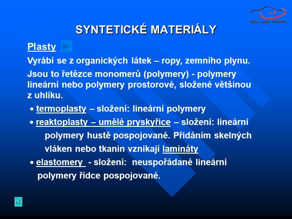 SYNTETICKÉ MATERIÁLY Plasty Vyrábí se z organických látek – ropy, zemního plynu.