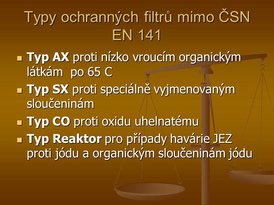 Typy ochranných filtrů mimo ČSN EN 141  Typ AX proti nízko vroucím organickým látkám po 65 C  Typ SX proti speciálně vyjmenovaným sloučeninám  Typ CO proti oxidu uhelnatému  Typ Reaktor pro případy havárie JEZ proti jódu a organickým sloučeninám jódu