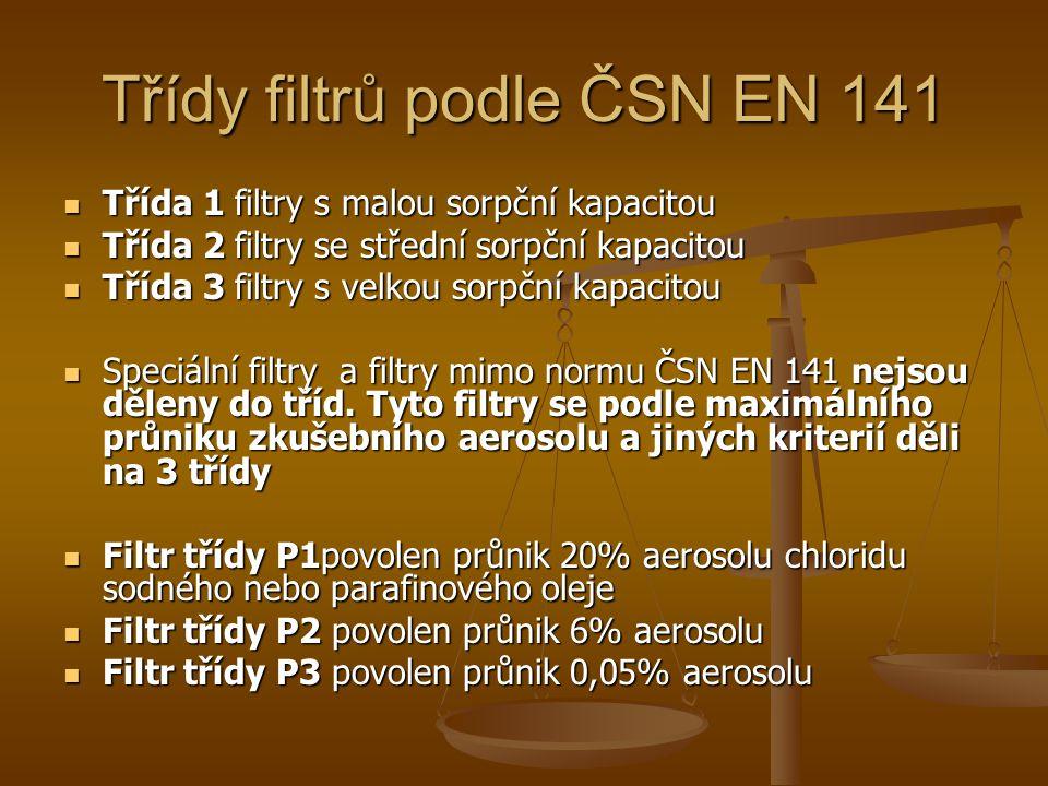 Třídy filtrů podle ČSN EN 141  Třída 1 filtry s malou sorpční kapacitou  Třída 2 filtry se střední sorpční kapacitou  Třída 3 filtry s velkou sorpční kapacitou  Speciální filtry a filtry mimo normu ČSN EN 141 nejsou děleny do tříd.