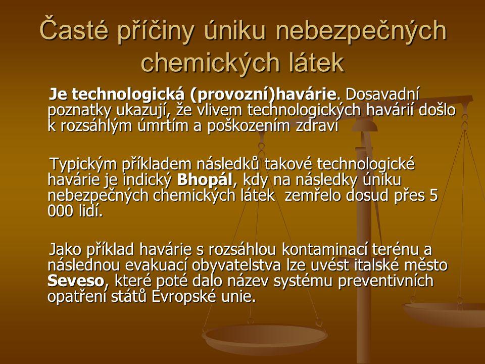 Časté příčiny úniku nebezpečných chemických látek Je technologická (provozní)havárie.