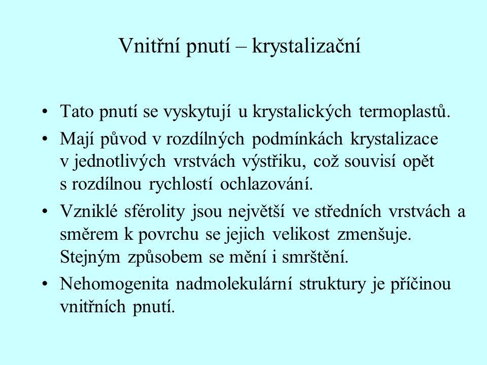 Vnitřní pnutí – krystalizační •Tato pnutí se vyskytují u krystalických termoplastů.