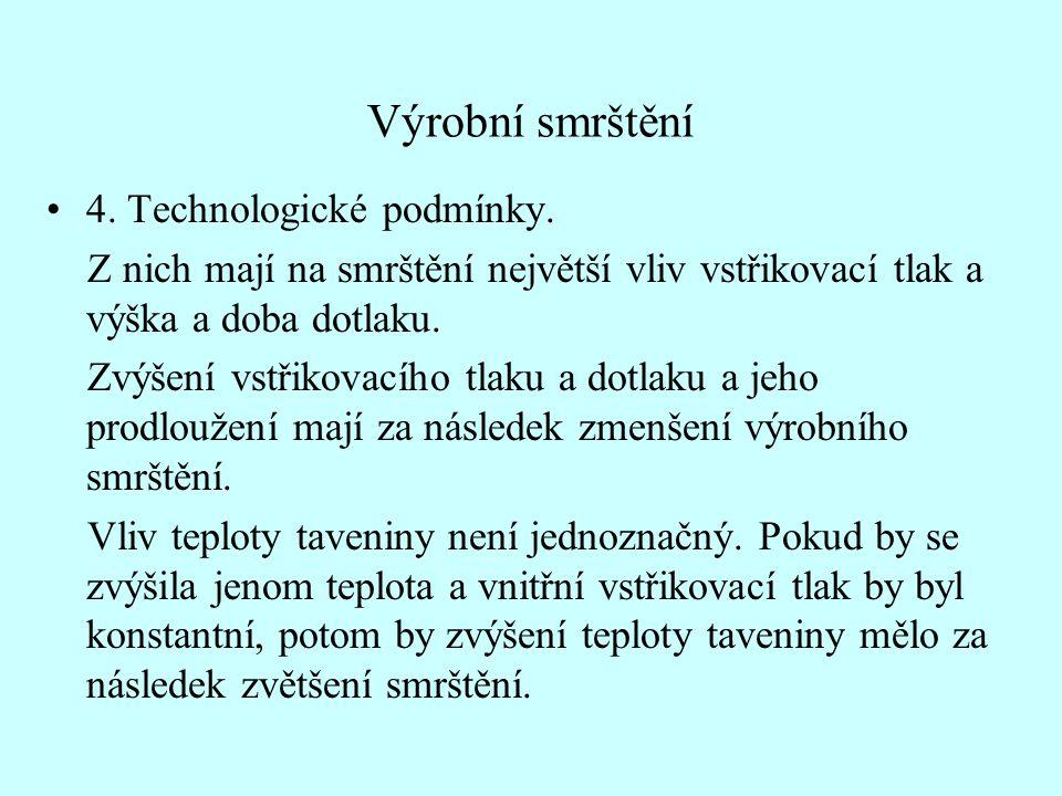 Výrobní smrštění •4.Technologické podmínky.