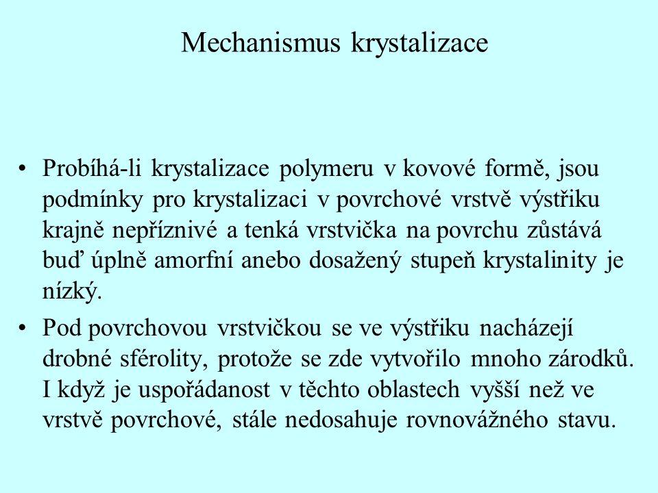 Mechanismus krystalizace •Probíhá-li krystalizace polymeru v kovové formě, jsou podmínky pro krystalizaci v povrchové vrstvě výstřiku krajně nepříznivé a tenká vrstvička na povrchu zůstává buď úplně amorfní anebo dosažený stupeň krystalinity je nízký.