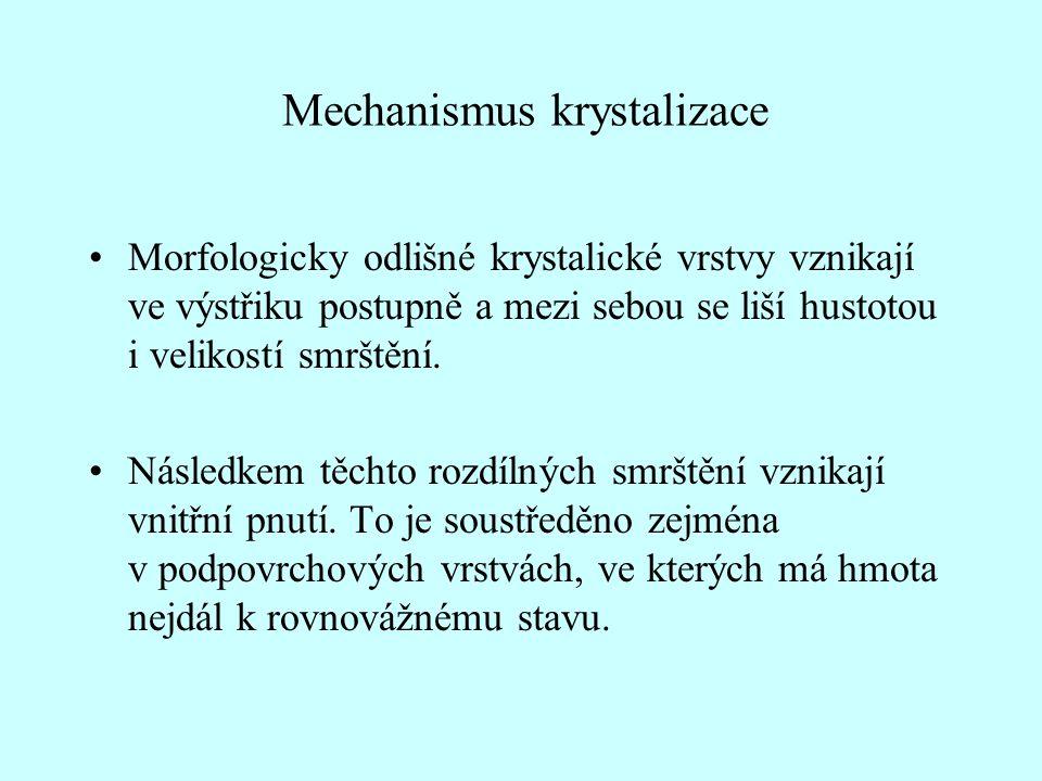 Mechanismus krystalizace •Morfologicky odlišné krystalické vrstvy vznikají ve výstřiku postupně a mezi sebou se liší hustotou i velikostí smrštění.