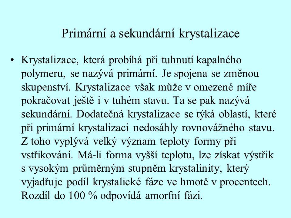 Primární a sekundární krystalizace •Krystalizace, která probíhá při tuhnutí kapalného polymeru, se nazývá primární.