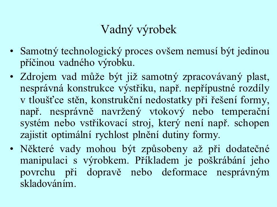 Vadný výrobek •Samotný technologický proces ovšem nemusí být jedinou příčinou vadného výrobku.