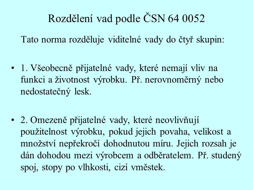 Rozdělení vad podle ČSN 64 0052 Tato norma rozděluje viditelné vady do čtyř skupin: •1.