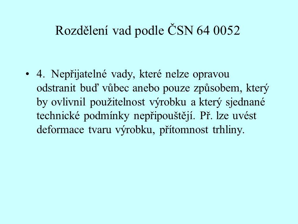 Rozdělení vad podle ČSN 64 0052 •4.