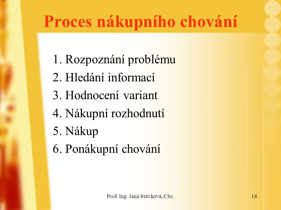 Prof.Ing. Jana Stávková, CSc.16 Proces nákupního chování 1.