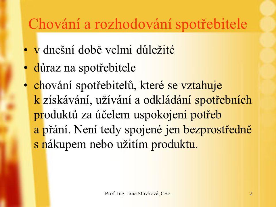 Prof. Ing. Jana Stávková, CSc.23 4. Nákupní rozhodnutí Proces nákupního chování