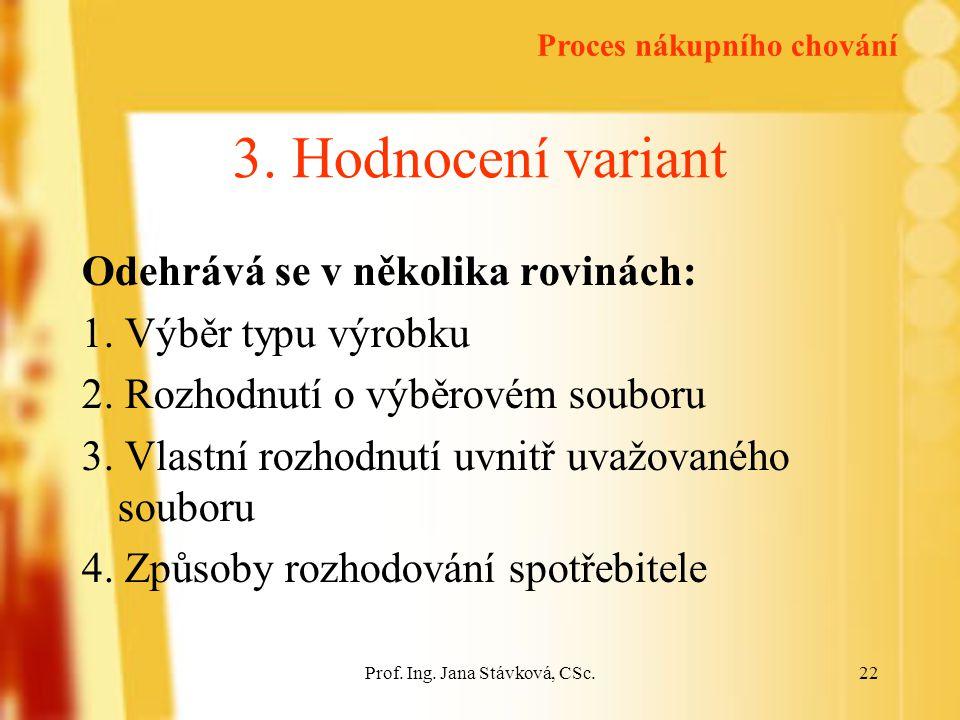 Prof.Ing. Jana Stávková, CSc.22 3. Hodnocení variant Odehrává se v několika rovinách: 1.