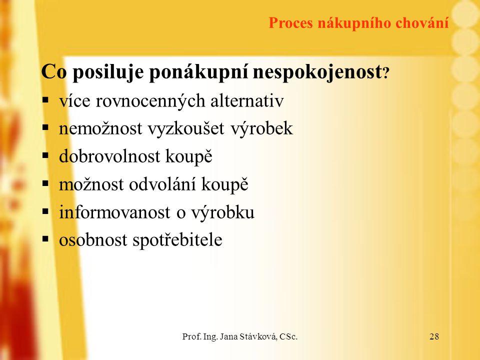 Prof.Ing. Jana Stávková, CSc.28 Co posiluje ponákupní nespokojenost .
