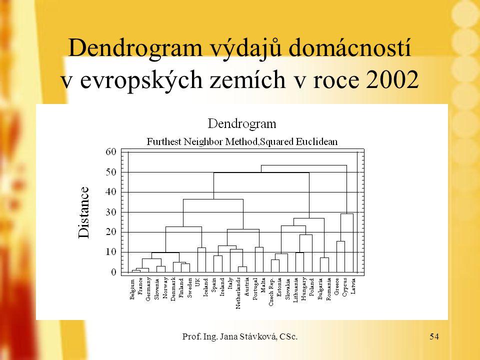 Prof. Ing. Jana Stávková, CSc.54 Dendrogram výdajů domácností v evropských zemích v roce 2002