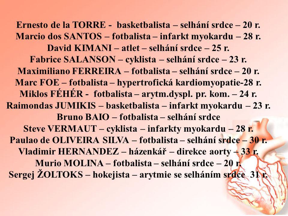 Ernesto de la TORRE - basketbalista – selhání srdce – 20 r. Marcio dos SANTOS – fotbalista – infarkt myokardu – 28 r. David KIMANI – atlet – selhání s