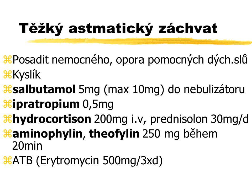 Těžký plicní edém zPosadit nemocného zKyslík maskou 100% zfurosemid 40-80mg i.v., morfin 5 mg.
