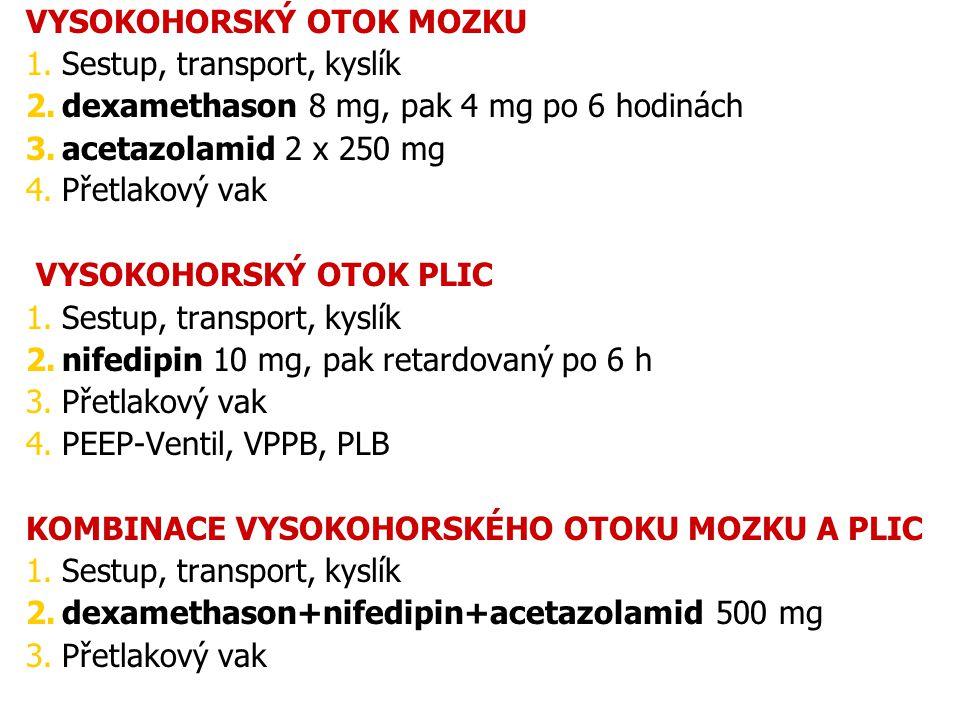 Acetazolamid zSulfonamidové diuretikum zInhibitor karbonanhydrázy zMírní příznaky výškové nemoci- pO 2 zvýší ventilaci a poklesne pCO 2 = respirační alkaloza.