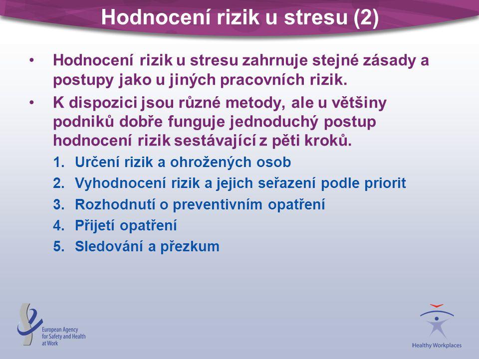 Hodnocení rizik u stresu (2) •Hodnocení rizik u stresu zahrnuje stejné zásady a postupy jako u jiných pracovních rizik.