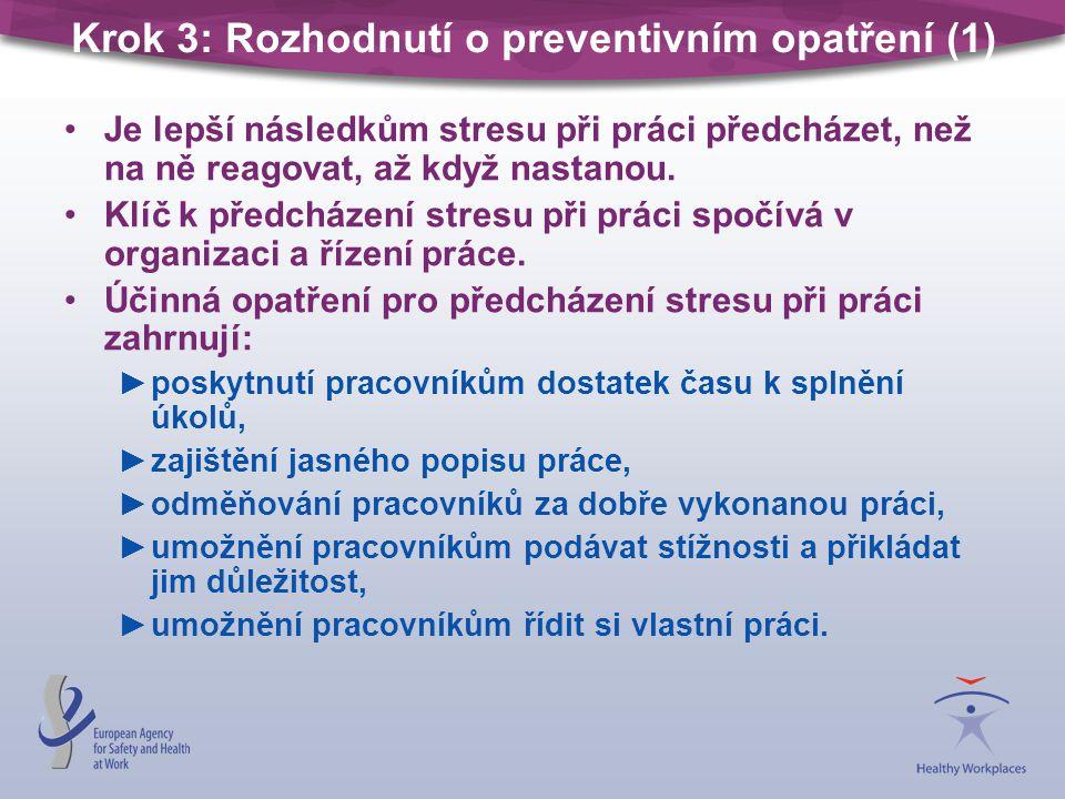 Krok 3: Rozhodnutí o preventivním opatření (1) •Je lepší následkům stresu při práci předcházet, než na ně reagovat, až když nastanou.