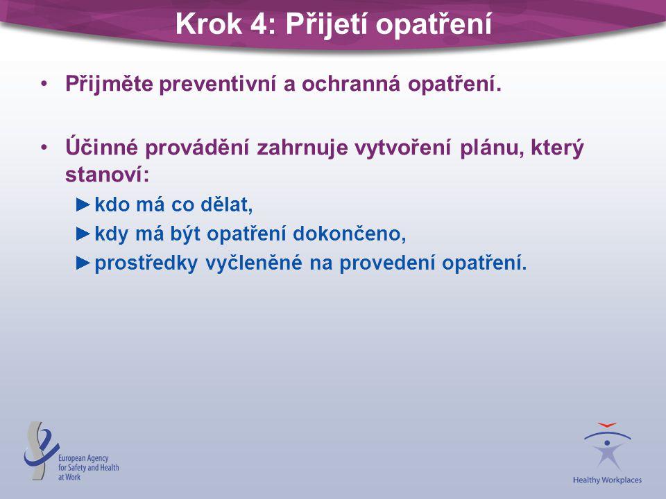 Krok 4: Přijetí opatření •Přijměte preventivní a ochranná opatření.