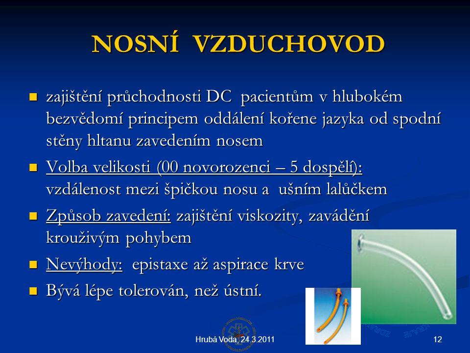 12Hrubá Voda, 24.3.2011 NOSNÍ VZDUCHOVOD NOSNÍ VZDUCHOVOD  zajištění průchodnosti DC pacientům v hlubokém bezvědomí principem oddálení kořene jazyka