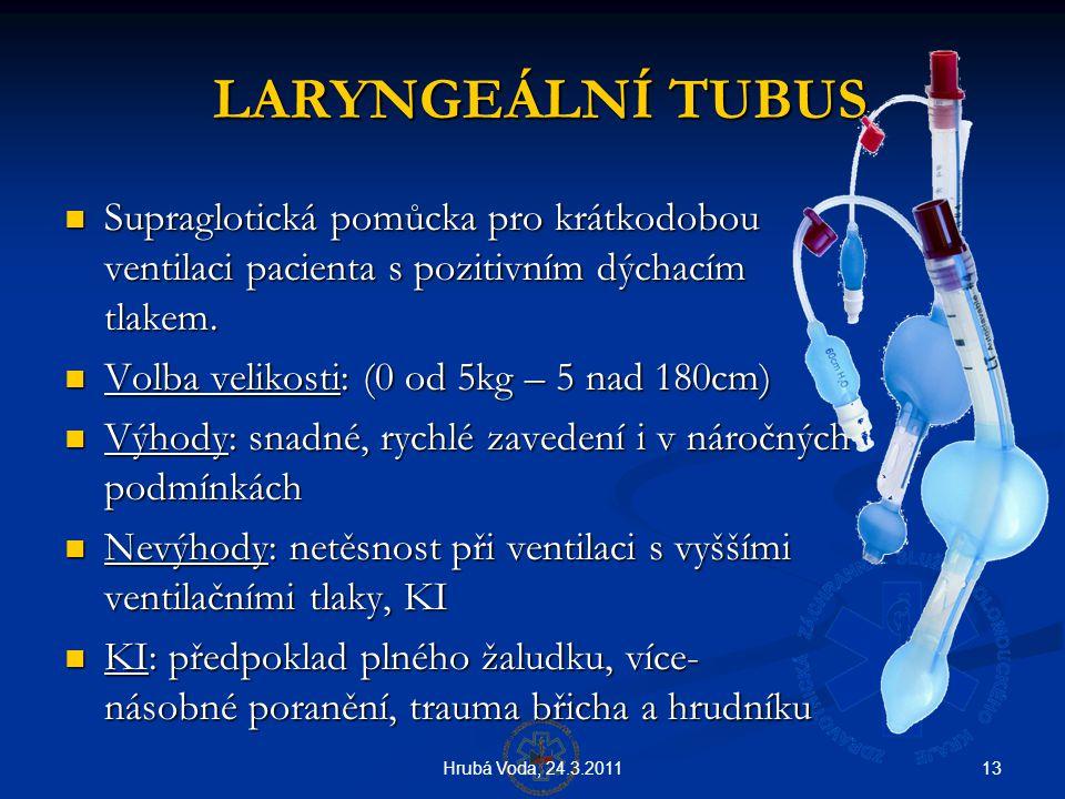 13Hrubá Voda, 24.3.2011 LARYNGEÁLNÍ TUBUS LARYNGEÁLNÍ TUBUS  Supraglotická pomůcka pro krátkodobou ventilaci pacienta s pozitivním dýchacím tlakem. 
