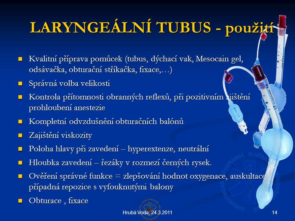 14Hrubá Voda, 24.3.2011 LARYNGEÁLNÍ TUBUS - použití LARYNGEÁLNÍ TUBUS - použití  Kvalitní příprava pomůcek (tubus, dýchací vak, Mesocain gel, odsávač