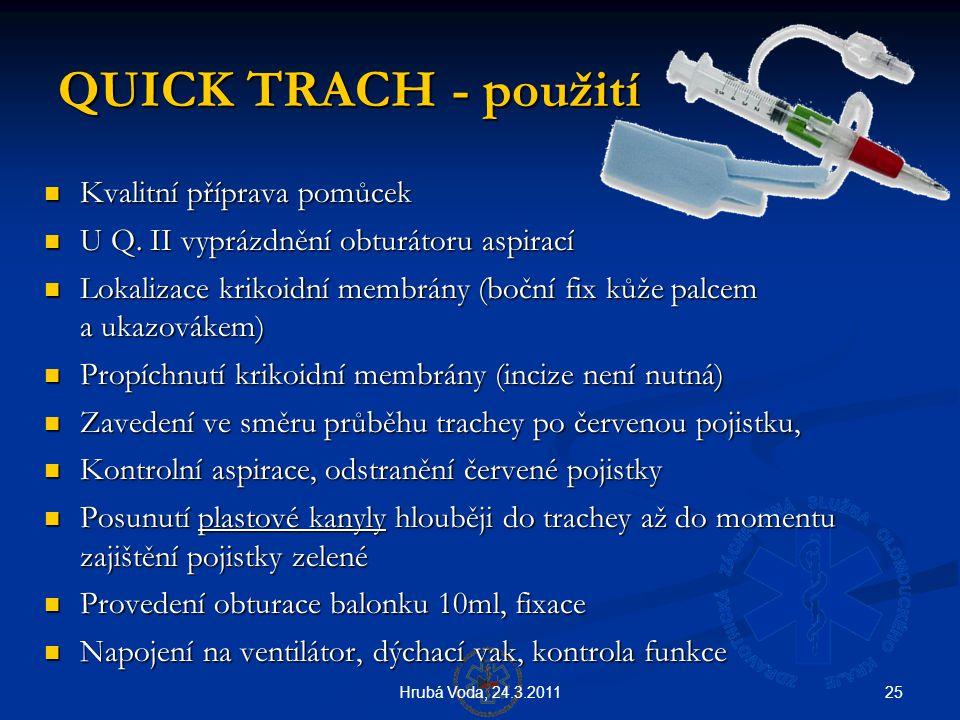 25Hrubá Voda, 24.3.2011 QUICK TRACH - použití QUICK TRACH - použití  Kvalitní příprava pomůcek  U Q. II vyprázdnění obturátoru aspirací  Lokalizace