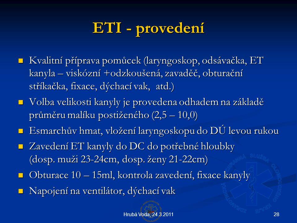 28Hrubá Voda, 24.3.2011 ETI - provedení ETI - provedení  Kvalitní příprava pomůcek (laryngoskop, odsávačka, ET kanyla – viskózní +odzkoušená, zavaděč