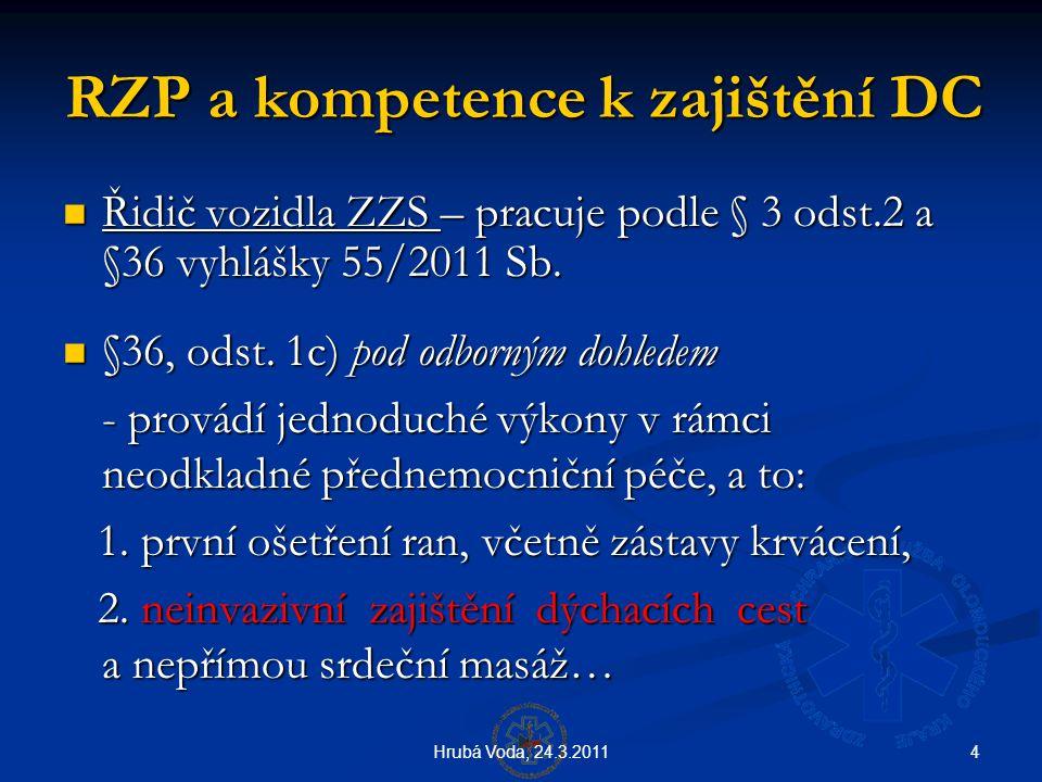 4Hrubá Voda, 24.3.2011 RZP a kompetence k zajištění DC  Řidič vozidla ZZS – pracuje podle § 3 odst.2 a §36 vyhlášky 55/2011 Sb.  §36, odst. 1c) pod