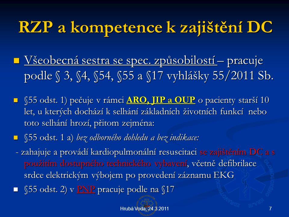7Hrubá Voda, 24.3.2011 RZP a kompetence k zajištění DC  Všeobecná sestra se spec. způsobilostí – pracuje podle § 3, §4, §54, §55 a §17 vyhlášky 55/20