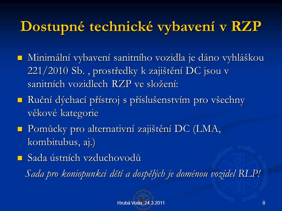 8Hrubá Voda, 24.3.2011 Dostupné technické vybavení v RZP  Minimální vybavení sanitního vozidla je dáno vyhláškou 221/2010 Sb., prostředky k zajištění