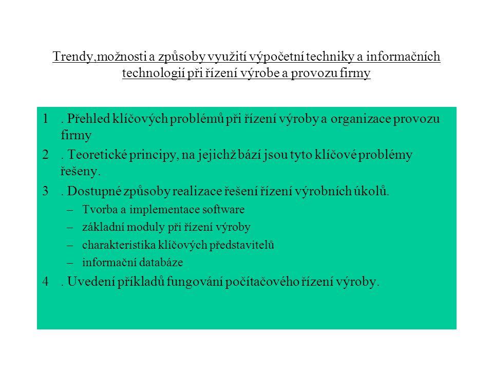 Trendy,možnosti a způsoby využití výpočetní techniky a informačních technologií při řízení výrobe a provozu firmy 1. Přehled klíčových problémů při ří