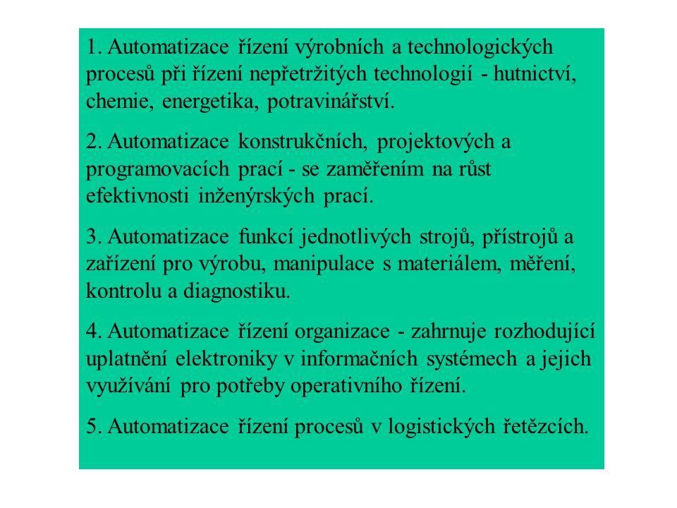 1. Automatizace řízení výrobních a technologických procesů při řízení nepřetržitých technologií - hutnictví, chemie, energetika, potravinářství. 2. Au