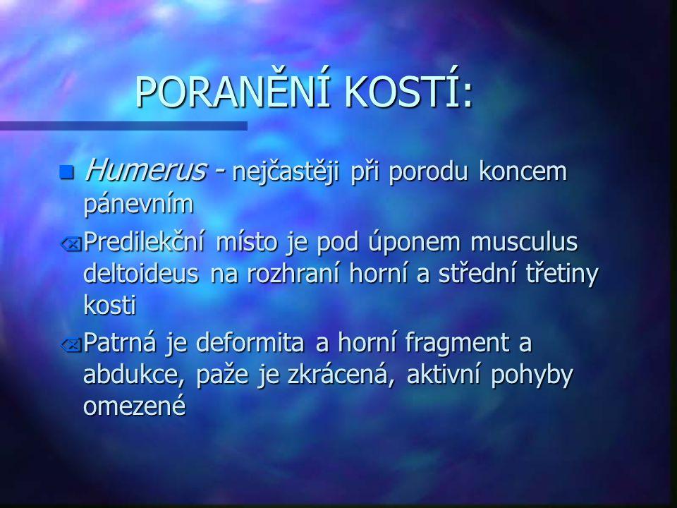 PORANĚNÍ KOSTÍ: n Humerus - nejčastěji při porodu koncem pánevním Õ Predilekční místo je pod úponem musculus deltoideus na rozhraní horní a střední tř
