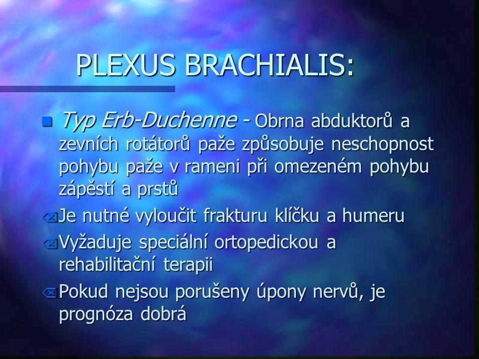PLEXUS BRACHIALIS: n Typ Erb-Duchenne - Obrna abduktorů a zevních rotátorů paže způsobuje neschopnost pohybu paže v rameni při omezeném pohybu zápěstí