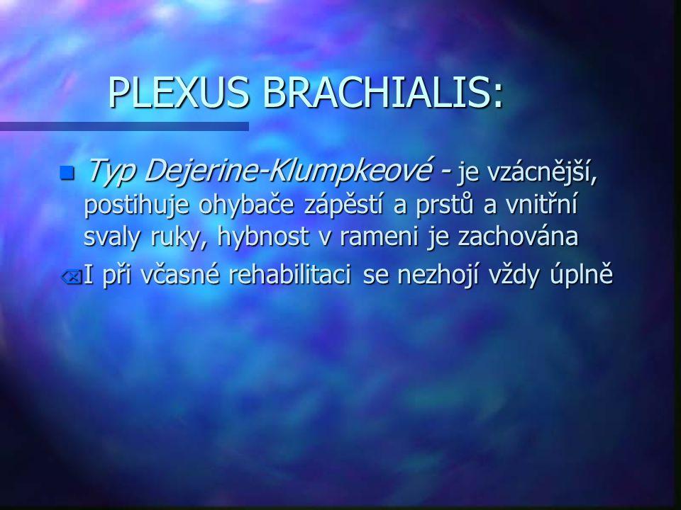 PLEXUS BRACHIALIS: n Typ Dejerine-Klumpkeové - je vzácnější, postihuje ohybače zápěstí a prstů a vnitřní svaly ruky, hybnost v rameni je zachována Õ I