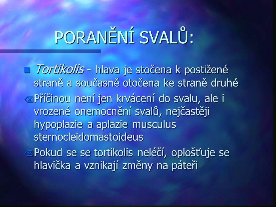 PORANĚNÍ SVALŮ: n Tortikolis - hlava je stočena k postižené straně a současně otočena ke straně druhé Õ Příčinou není jen krvácení do svalu, ale i vro